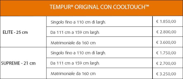 Materassi Tempur Original CoolTouch su misura