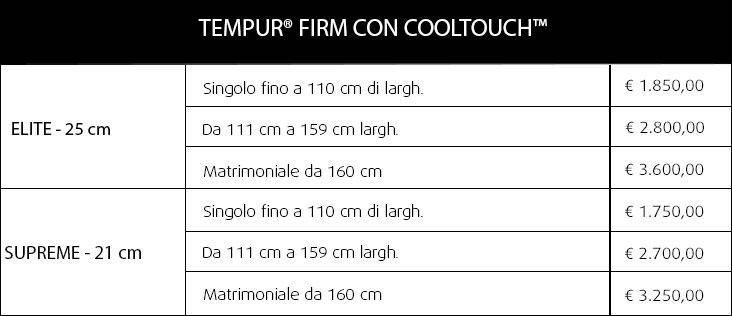 Materassi Tempur Firm CoolTouch su misura
